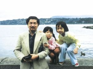 Yorihiko Kojima with Daughters in Italy